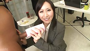 Office, Brunette, Handjob, Japanese, MILF, Office