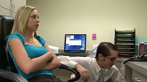 Free John Henry HD porn Bright-haired secretary Shawna Lenee with big boobs mid constricted shirt seduces geeky brunette chap with glasses John Henry mid small office corner makes him