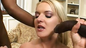 Free Black Blonde HD porn Sensual blonde in sexy knickers exposes her body and seizes smashed by two black guys