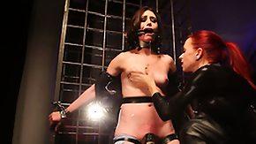 Electro HD porn tube Lezdom bondage victim electro play