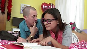 Nerdy HD porn tube nerdy minor studies with her boyfriend