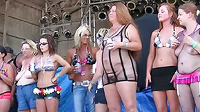 HD Contest tube fresh real women competing between biker rally wet tshirt contest