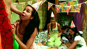 Birthday, Birthday, Blowjob, Brunette, Fingering, Foursome