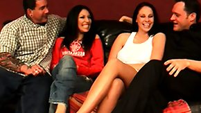 Swinger, 4some, Adorable, Blowjob, Brunette, Foursome