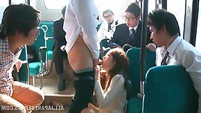 Bus, Babe, Banging, Brunette, Bus, Gangbang