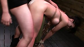 Gag, BDSM, Bend Over, Brunette, Choking, Doggystyle