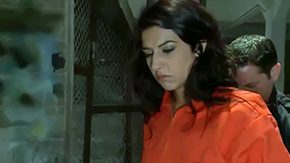 Brutal HD porn tube Lou Charmelle hot French honey who gets caught with drugs no passport in foreign country Cruel officers lock her up in naughty cage convince Lou to absorb