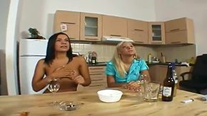 HD Lara Amour tube Lara Amour Sunny are having fun at intervals sucking licking hard boner threesome with Renato their kitchen