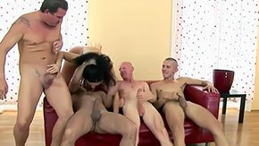 Gagging, Ball Licking, Banging, Blowjob, Brunette, Choking