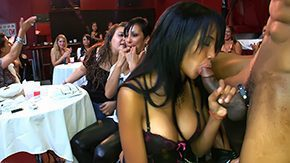 Club Strip, Aunt, Blowjob, Brunette, CFNM, Clothed