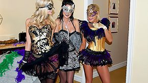 Stocking Threesome, Blonde, Brunette, Clothed, Cunt, Dress