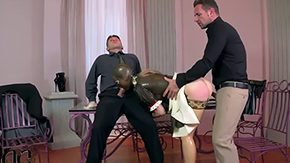 HD Latex Lucy Sex Tube Golden-haired pornstar Latex Lucy with bouncing bum face in the middle rubber housemaid uniform stripper shoes get fucked in the middle crude threesome by 2 evil
