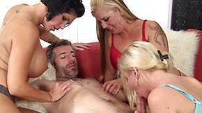 French Mature, 4some, Big Cock, Blonde, Blowjob, Brunette