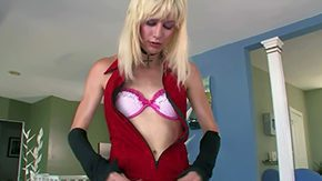 Free Bee Armitage HD porn Blonde shemale Bee Armitage in insufficient red dress pulls off her underwear before that chick gives closeup view of hard veiny dick asshole expands ass cheeks