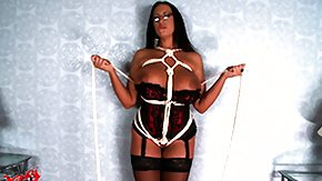 HD Bondage Panties tube Busty brunette in bikini is tightened up further posing for some bondage