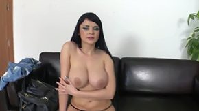 Long Duration HD porn tube Long-haired woman Anastasia Brill with massive knockers big areolas teases with her tight butt enjoys fingering her holes for the duration