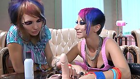 HD Punk tube Punk bitch lesbians play with a dildo before they go by cause of the real thing